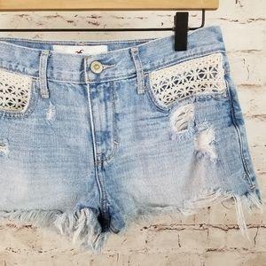 Hollister Boho Denim Cutoffs woth Crochet Pockets